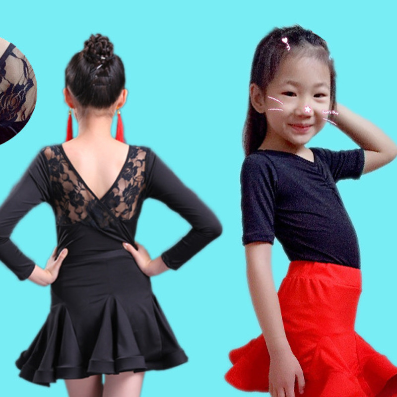 Children latin salsa dress kids Ballroom Dancing rumba samba Skirt Ruffle lace velvet cha cha Tango latin dance dress for girls
