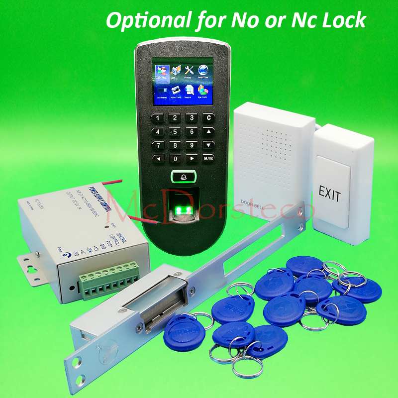 DIY F19 Complete No or Nc Long Electric Strike Lock Door System Kit Fingerprint Access Control System + Power Supply +Door Bell
