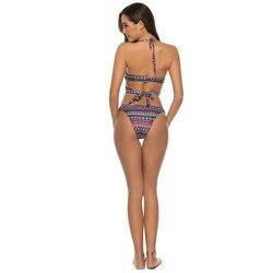 2019 lato Sexy kobiety wyściełane biustonosz push-up biustonosz zestaw Swimmingsuit stroje kąpielowe drukuj kostium kąpielowy strój kąpielowy 3