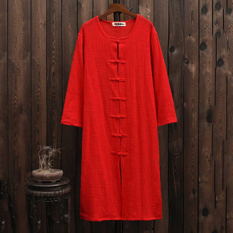 2019 Женская весенне-осенняя одежда в китайском стиле с длинными рукавами на пуговицах, раздельная верхняя одежда из хлопка и льна, длинная куртка, пальто