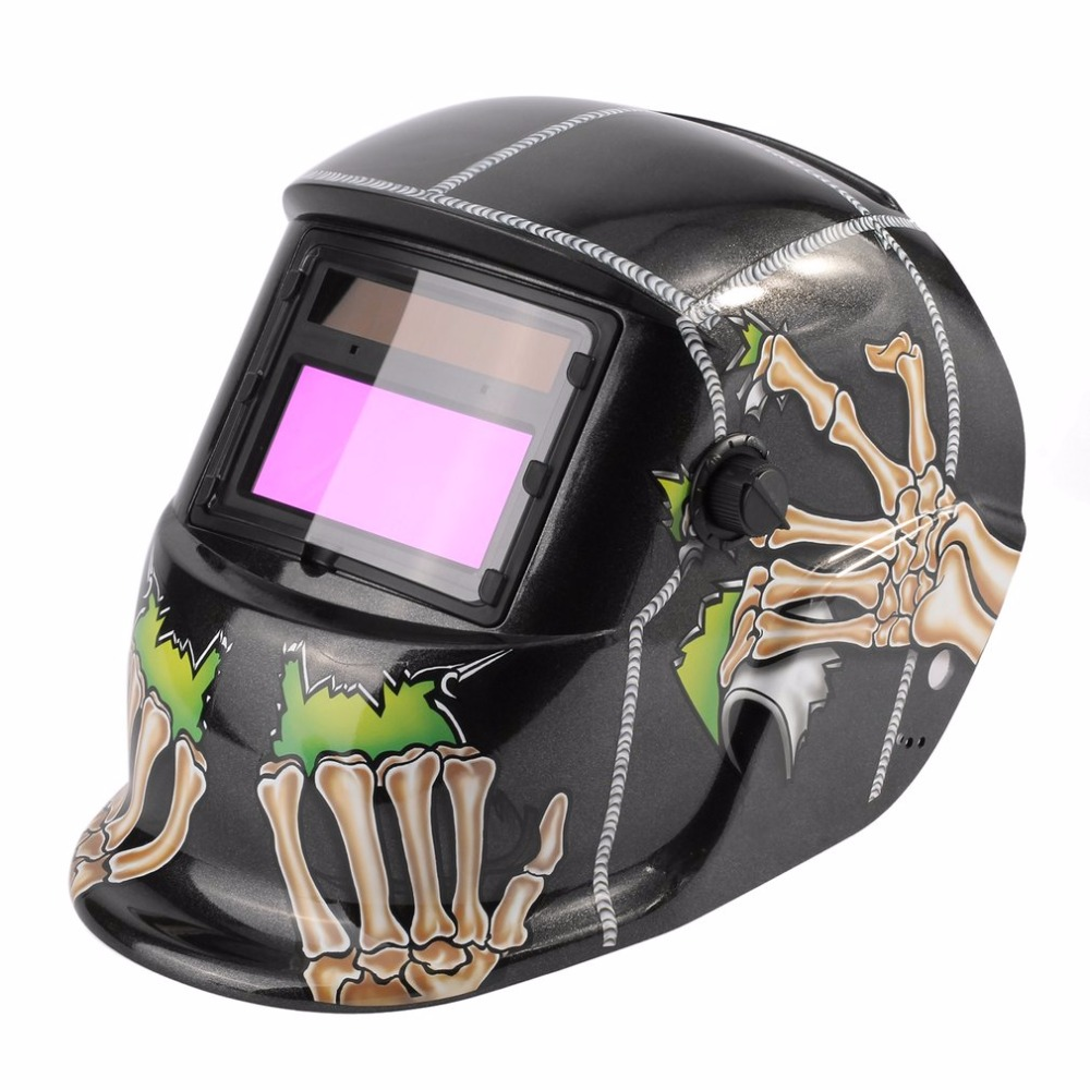Solar Powered Auto-darkening Welding Helmet Welding Face Mask Arc Tig Mig Mask Grinding Welding Mask Skull Pattern fire flames auto darkening solar powered welder stepless adjust mask skull lens for welding helmet tools machine free shipping