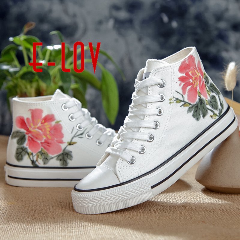 E-LOV Chinese Special Painting Unisex Designs Hand-Painted Canvas Shoes Personalized Men Adult Casual Shoes Cute Platform Shoes e lov design hand painted couples lovers canvas shoes custom women flats casual shoe espadrilles graffiti leo horoscope
