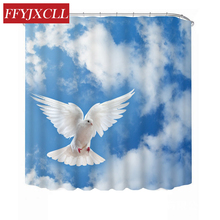Modern Blue Sky White Clouds Pigeon Elephant Tiger Wolf Printing Shower Curtain Waterproof Mildew Bathroom
