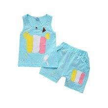 Bebé colorido Doodle chándales niños niñas chaleco pantalones cortos 2  unids set niños activo niño ropa de moda conjunto de ropa. 3110098688d