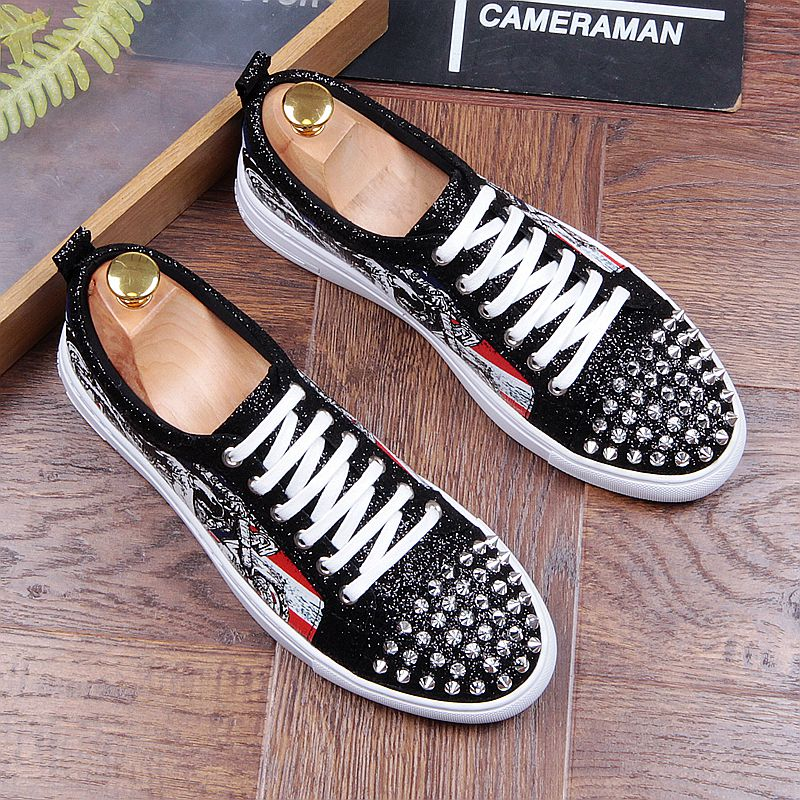Fashion Men's Sneakers Studded Rivets Casual Black Round Toe Shoes Man Heavy Bottom Lace Up Male Flats Zapatos Hombre-in Men's Casual Shoes from Shoes on Aliexpress.com | Alibaba Group 33