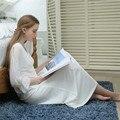 Nueva Otoño Blanco Atractivo del Sueño a Largo Salón de la ropa Femenina Vestido de Casa Vestido de Encaje Princesa Camisón de Dormir Las Mujeres de La Vendimia