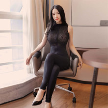 Sexy Women Lace Patchwork Bodysuit Sheer See Through Shiny Bodysuit Sexy Tight Dance