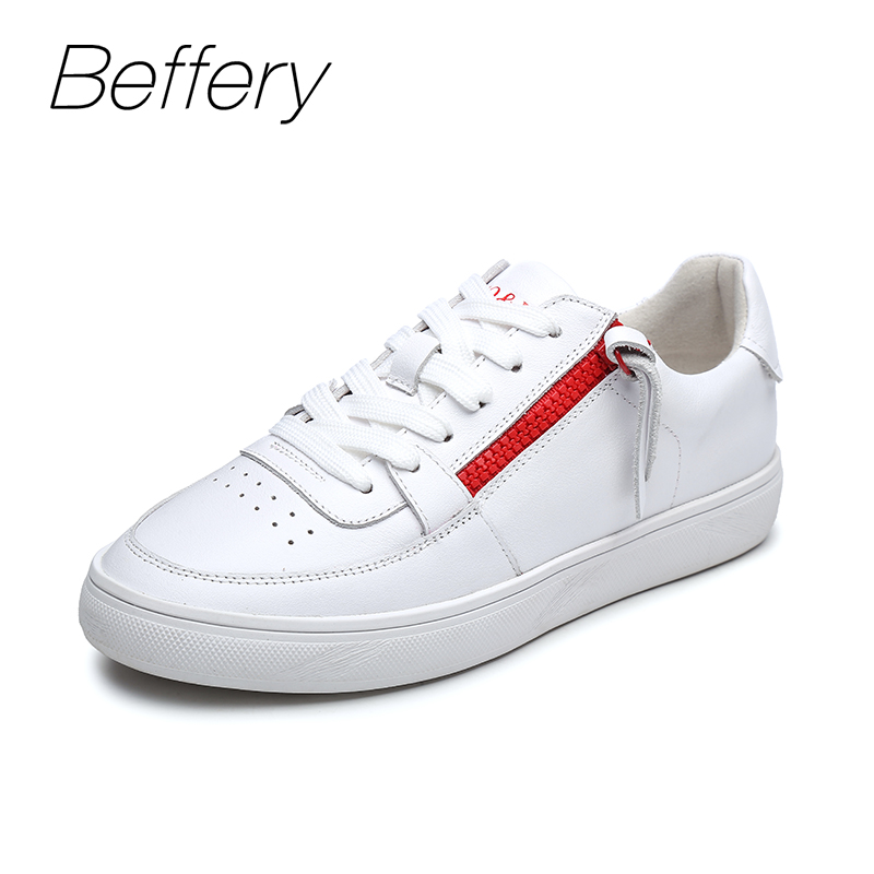 Beffery 2018 New Women Sneakers Fashion Flat Platform Shoes For Women Lace-up Casual Shoes girl White Black Sneakers A1A8162-1