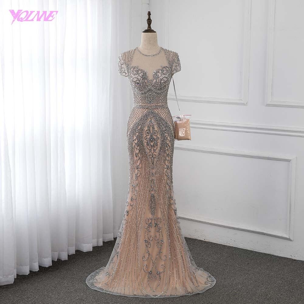 Luxury Handmade Rhinestones Evening Dress Long Cap Sleeve Mermaid Formal Evening Gown Runway Fashion Dresses YQLNNE