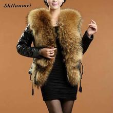 Fur Jacket Gilet Winter Thick Warm Leather Mink Faux Fur Coat Collar Women Pelliccia Ecologica Manteaux Fausse Fourrure XXXL