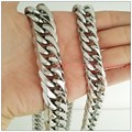 7-40inch Father's Day Gift New Fashion 13/16mm Stainless Steel Silver Curb Cuban Chain Necklace Bracelet Highly Polished Jewelry