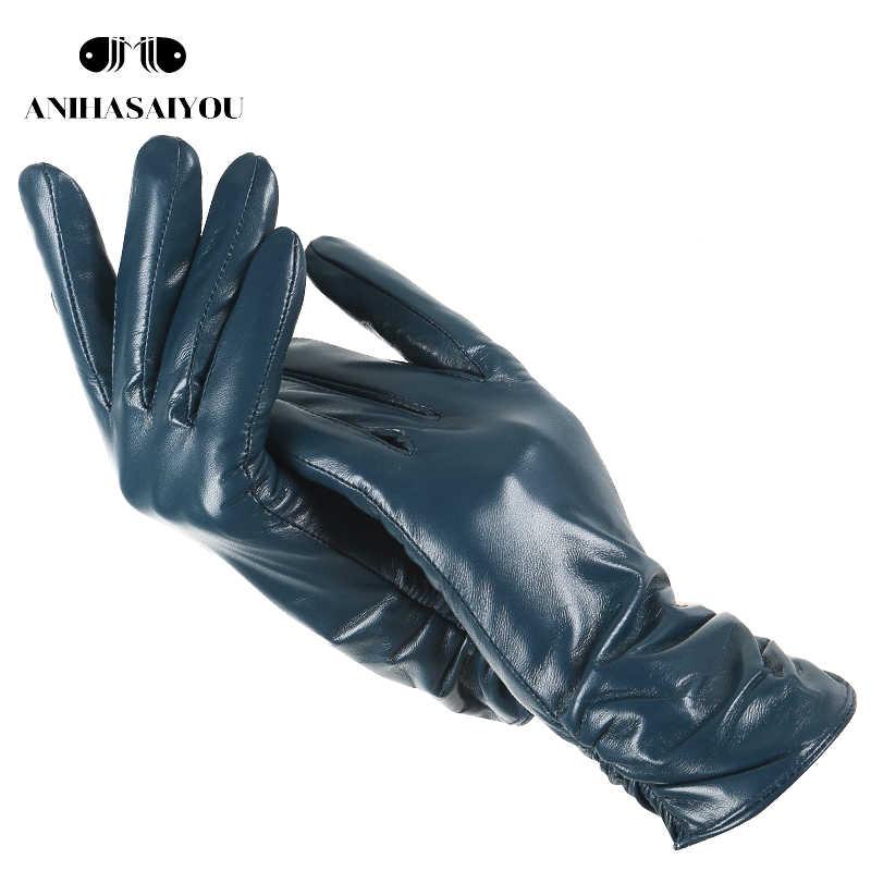 クラシックプリーツ革手袋女性色本物の革手袋女性のシープスキン本革冬の手袋の女性の 2081