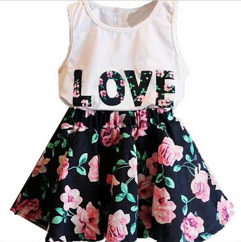 2018 Kids Suits 2PCS Kids Baby Girls Toddler T-shirt Tank Tops and Skirt Dress Set Outfits Clothes 2pcs star set autumn spring toddler kids baby girls outfits long sleeve t shirt tops dress denim pants clothes set