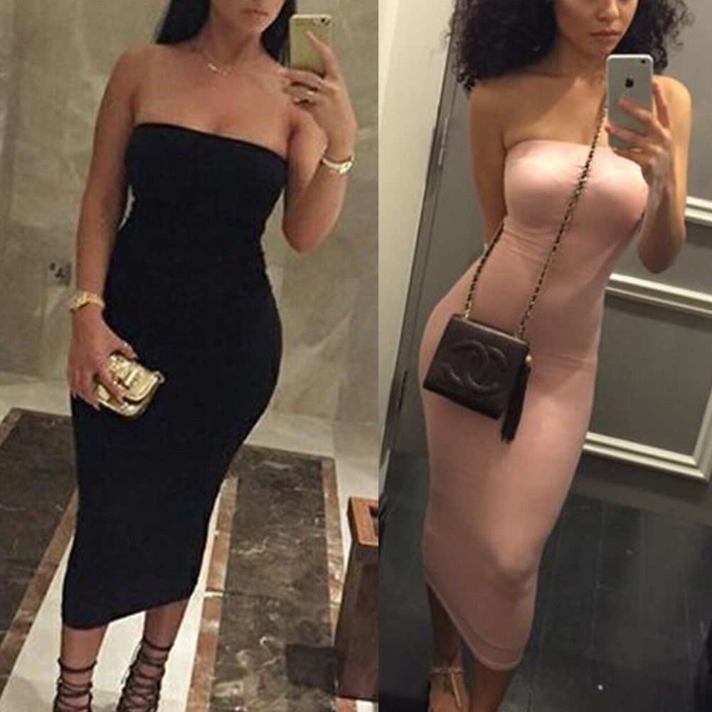 Summer Sleeveless Strapless Bodycon Dress Women Off Shoulder Tube Pencil Midi Dress Evening Party Dresses Black Pink