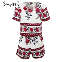 Simplee Apparel Elegant Jumpsuit Romper Two Piece Suit Boho Chic Flower Playsuit Women Summer Style Overall