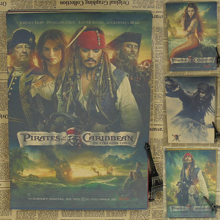 Pirates of the Caribbean Captain Jack Sparrow Johnny Depp Poster retro bar decorative painting kraft paper