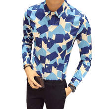 Fashion 2018 New Print Shirt Male Plus Size Casual Slim Fit Mens Red Blu Floral Shirts Long Sleeve Gentlemen Tuxedo 5XL-S цена и фото