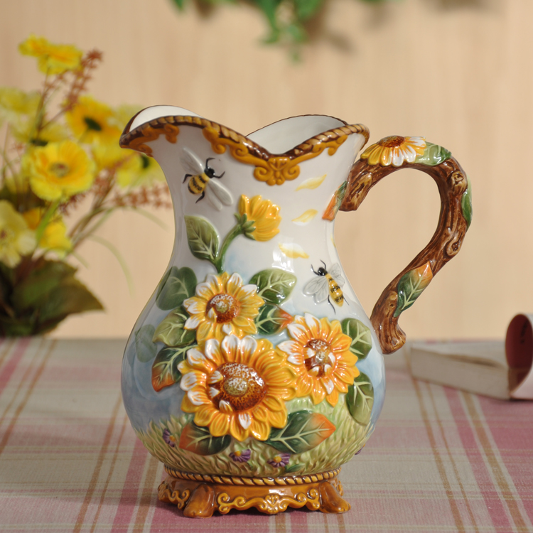 ceramic cerative sunflower flowers vase coffee pot home decor crafts room weeding decorations handicraft porcelain figurines