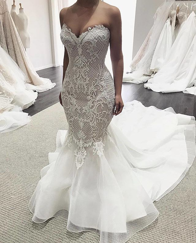 12b26696d7db Sexy New Mermaid Wedding Dresses 2018 Sweetheart Neck Off the Shoulder  Court Train Appliques Tulle Bridal