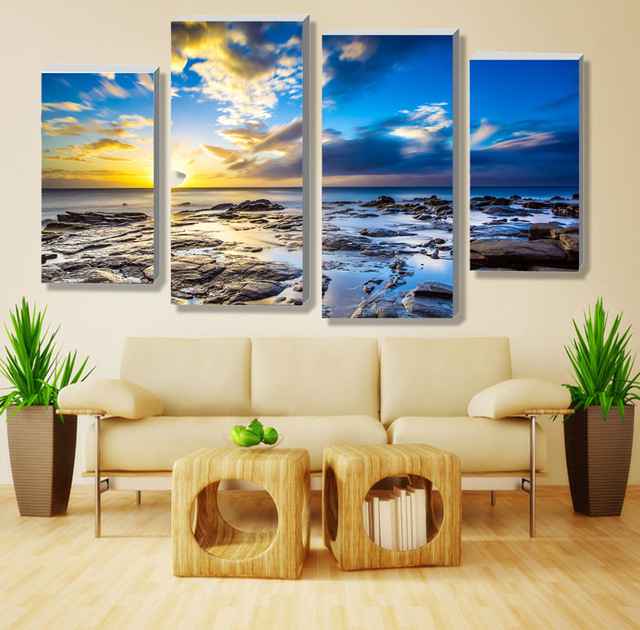 Drop Shipp Modern Scenery Beautiful High Definition Printing 4 Panel Painting The Living Room On
