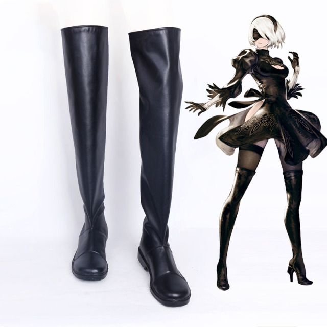 Game NieR Automata YoRHa No.2 Type B Cosplay Shoes Black High Heel Flat  Boots New Custom Free Shipping 2 Style 0c189fbad52c