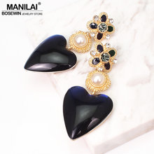 MANILAI ZA Big Earrings Heart Drop Dangle Earrings For Women Jewelry Simulated Pearl Statement Earrings Gifts Accessories(China)