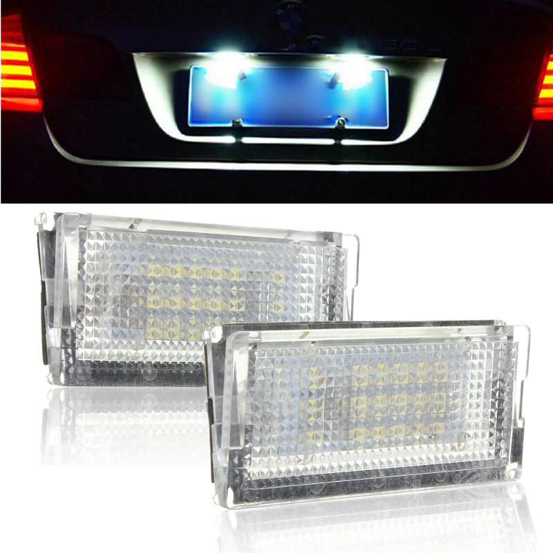 2Pcs Error Free  LED Tail License Number Plate Lights Lamps 18 3528 SMD Car Auto for BMW 3 Series E46 4D Sedan 5D Wagon new arrival 2pcs 18 smd 3528 led license plate light lamp bulb white for bmw e46 2 door 1998 2003 12 30v free shipping