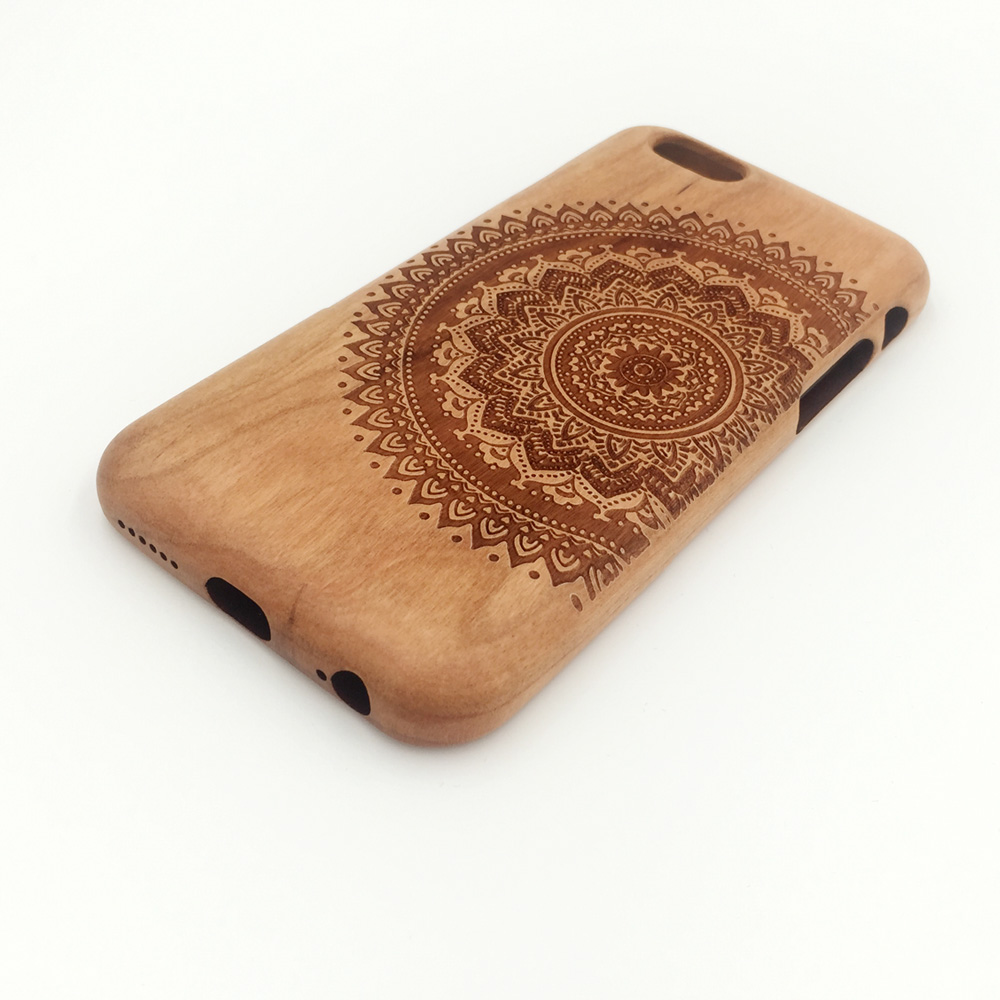 imágenes para Felidio Lujo Caso De Madera Natural para el iphone 6 Tapa Dura cubierta para el iphone 6 s Caso Genuino Hecho A Mano de Madera de Madera de Cerezo talla