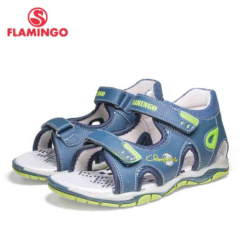FLAMINGO Brand Mixed Color Summer Hook&Loop Blue Casual Kids Shoes Little Outdoor Sandals Flat For Boy 81S-XDB-0759