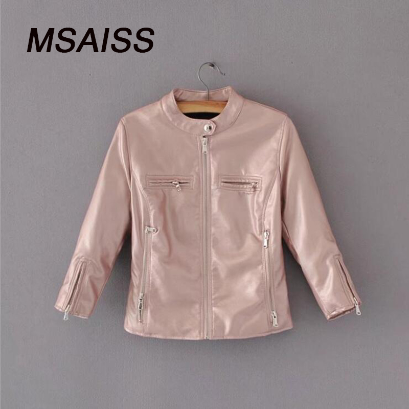MSAISS Faux   Leather   jacket Women O-neck Zipper Casual Jacket Female Short Jacket Coat