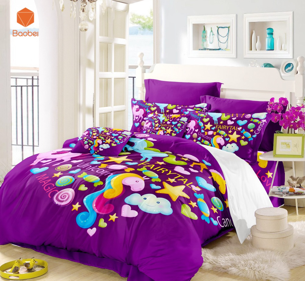 Us 7 47 17 Off 3pcs Purple Beding Set Unicorn Horse Candy Duvet Cover Pillowcases Full Queen Animal For Kids S Bedspreads Sj128 In Bedding