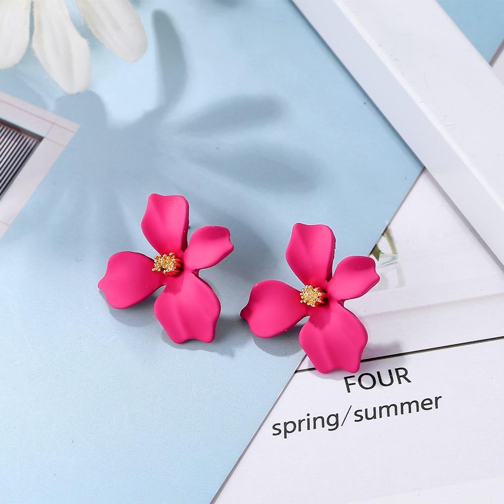 Fashion Flower kõrvarõngad naiste kõrvarõngas Ehted trendikas värviline lill avaldust kõrvarõngad kulla värvi kõrvarõngad järeldused