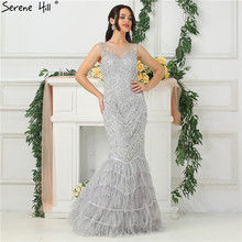 SERENE HILL Silver Feathers Mermaid Evening Dresses 2019