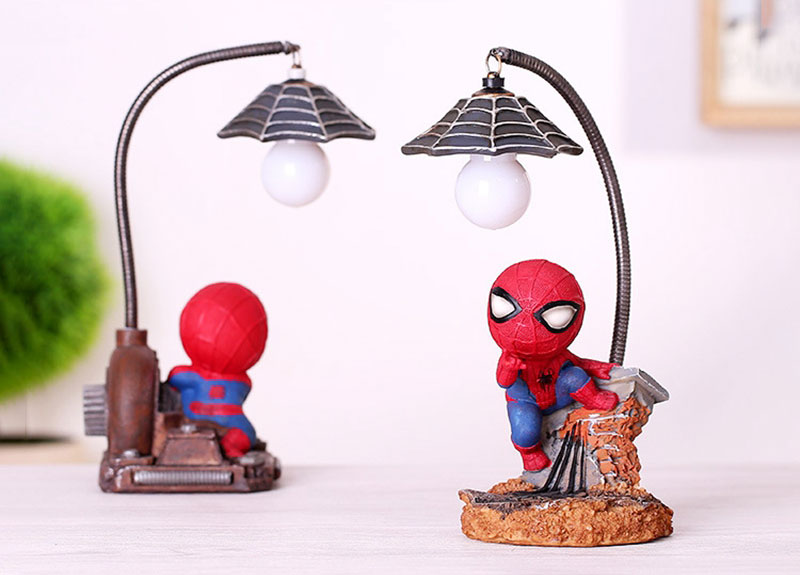 Cartoon Avengers Action Figures Spider Man Night Lamp Resin Children Bedroom LED Night Light for Boy Kids Xmas Creative Gift (9)