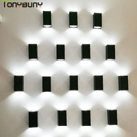 UP Down Outdoor wall lamps Wall Mounted AC 85 265V LED COB Wall Light Modern Waterproof Lighting for Garden Home Hallway