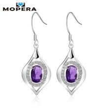 Mopera 1.45ct Genuine Natural Amethyst 925 Sterling Silver Drop Earrings Fine Wedding Jewelry Long Dangle Earrings For Women