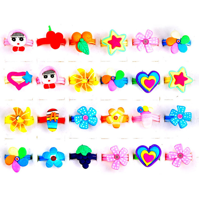 5Pcs Lot Children Cartoon Ring Flowers Smile Faces Animals Fruits Dolls