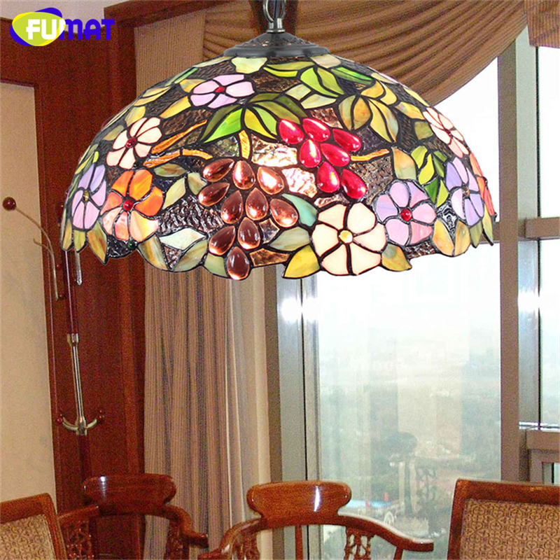 FUMAT European Style Tiffany Stained Glass Pendant Light For Living Room Bed Room Artistic Decor Grape Shade Led  Pendant Lamps fumat stained glass pendant lamps european style baroque lights for living room bedroom creative art shade led pendant lamp