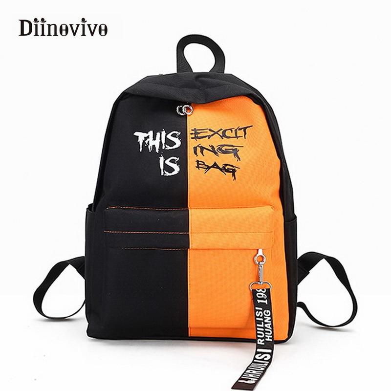 Diinovivo Fahion Nylon Women Backpack Female Korean Style Backpacks For Teen Girls For School Bags Designer Knapsack Whdv0393