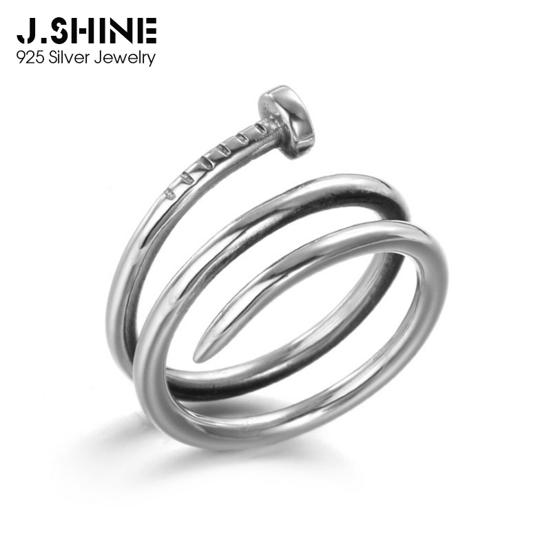 JShine Trendy Minimalism S925 Sterling Silver Rings Punk Layered Nail Ladies For Unisex Gift Women Accessories