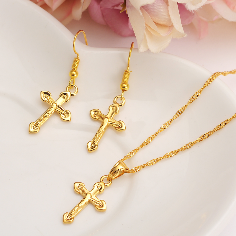 gold small cross Pendant Necklace chain Earrings sets Jewelry Gold