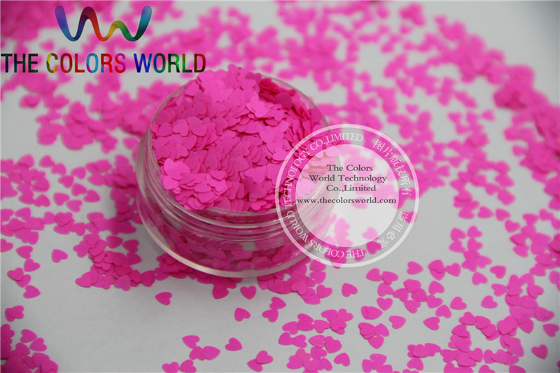 Solvent resistant - Neon Rose Carmine Color heart-shaped Glitter Spangles for Nail Polish and Other DIY decoration 1Pack =50g dn2 39 mix 2 3mm solvent resistant neon diamond shape glitter for nail polish acrylic polish and diy supplies1pack 50g
