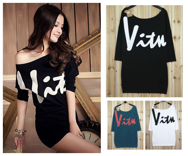 2318af9a0322 Free shipping Women s Fashion Korea Sexy Love Off Shoulder T-shirts   dress  Tops 3 Colors white black green 100% cotton