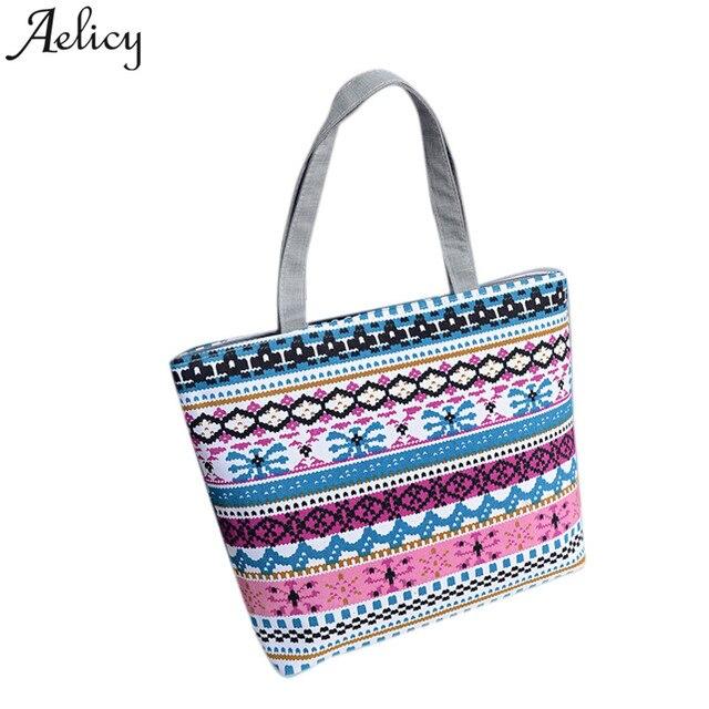 80d46edc5fb Aelicy 2018 Women Canvas Shopper Bag Striped Rainbow Prints Beach Bags Tote  Ladies Girls Shoulder bag Casual Shopping Handbag
