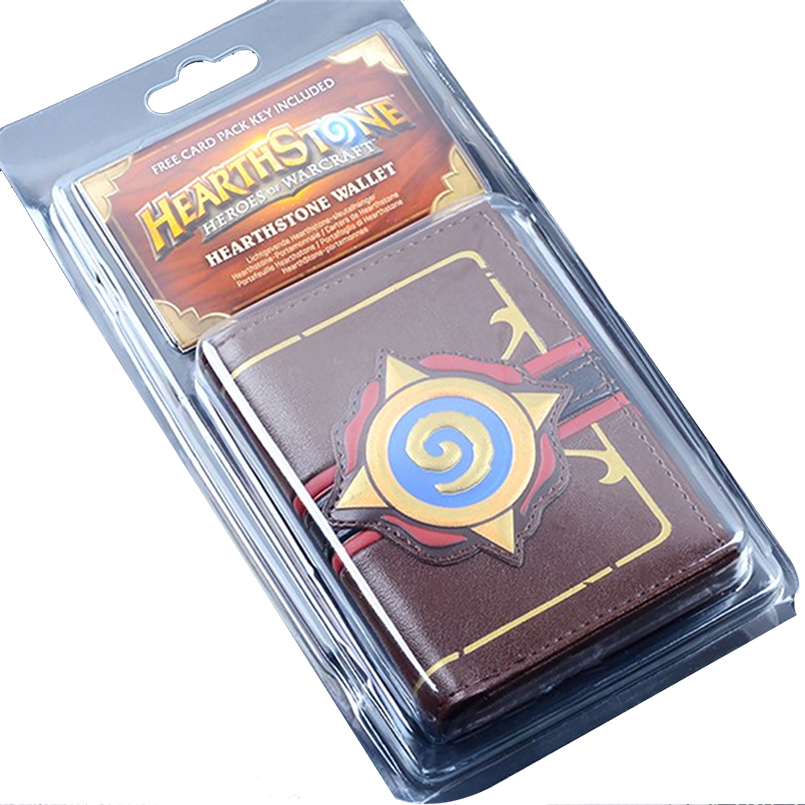 Embossed Leather Heroes of Warcraft Hearthstone logo wallet Men's Three folding wallets
