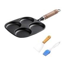 4 Hole Thickened Cast Iron Omelette Pan Egg Hamburg Mould Nonstick DIY Breakfast Pancake Patty Cake Pie Maker & Oil Brush Shovel