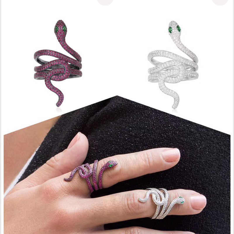 SLJELY Luxury S925 Sterling Silver Micro Pave Full AAA Cubic Zirconia Stones Green Eyes Snake Ring Women Zircon Animail Jewelry