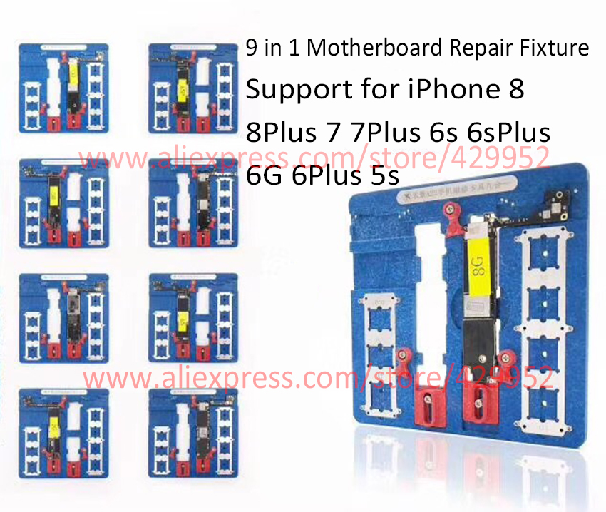 где купить 9 in 1 Motherboard Fixture IC Chip NAND Flash PCIE A7 A8 A9 A10 A11 CPU Holder for iPhone 8p 7p 6sp 6p 6g 5s BGA Repair Tool по лучшей цене