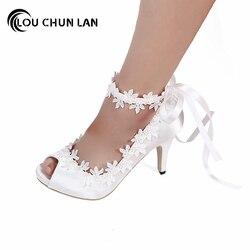 LOUCHUNLAN Chaussures Femmes Pompes Peep bout à bout Ouvert dentelle chaussures de mariage soie tache appliques taille 41 Drop Shipping