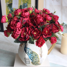 New Multi 4 Color Realistic Autumn Artificial Fake Peony Flower Arrangement Home Decor Bride hydrangea Free Shipping